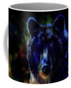 head of mighty brown bear, oil painting on canvas and graphic collage. Eye contact. Coffee Mug