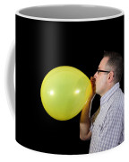 Man Inflating Balloon Coffee Mug