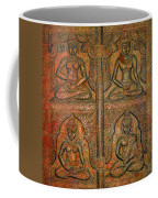 4 Panels Buddhas Wall Carving With Antique Filter Coffee Mug