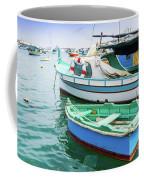 Traditional Boats At Marsaxlokk Harbor In Malta Coffee Mug