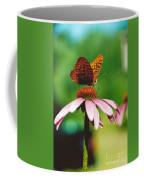 #416 14a Butterfly Fritillary, Coneflower Lunch Break Good Till The Last Drop Coffee Mug