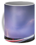 47 Street Lightning Storm Light Trails View Panorama 1 Coffee Mug by James BO  Insogna
