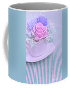 A Gift Of Preservrd Flower And Clay Flower Arrangement, Blue And Coffee Mug