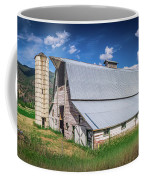 Summer Sunset With A Red Barn In Rural Montana And Rocky Mountai Coffee Mug