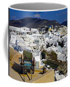 Cliff Perched Houses In The Town Of Oia On The Greek Island Of Santorini Greece Coffee Mug