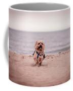 York Dog Playing On The Beach. Coffee Mug