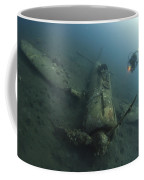 Diver Explores The Wreck Coffee Mug
