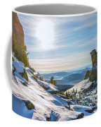 Amazing Winter Landscape With Frozen Snow-covered Trees On Mountains In Sunny Morning  Coffee Mug