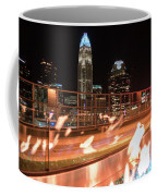Charlotte North Carolina Skyline View At Night From Roof Top Res Coffee Mug