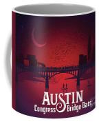 Austin's Congress Bridge Bats Illustration Art Prints Coffee Mug