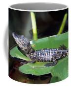 A Baby Alligator Resting On A Lilly Pad Coffee Mug