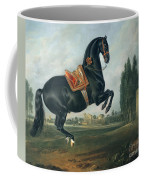 A Black Horse Performing The Courbette Coffee Mug