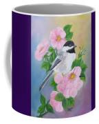 A Blackcapped Chickadee And Roses Coffee Mug