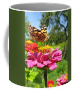 A Butterfly On The Pink Zinnia Coffee Mug