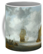A Calm Sea With A Man Of War And A Fishing Boat Coffee Mug