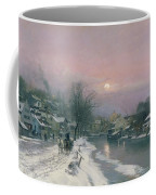 A Canal Scene In Winter  Coffee Mug by Anders Anderson Lundby