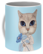 A Cat With A Blue Flower On White Coffee Mug