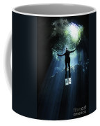 A Cavern Diver Ascends In The Cenote Coffee Mug by Karen Doody