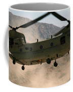 A Ch-47 Chinook Helicopter Kicks Coffee Mug