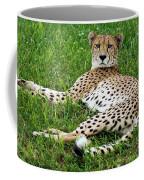 A Cheetah Resting On The Grass Coffee Mug