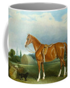A Chestnut Hunter And A Spaniel By Farm Buildings  Coffee Mug by John E Ferneley