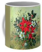 A Christmas Arrangement With Holly Mistletoe And Other Winter Flowers Coffee Mug