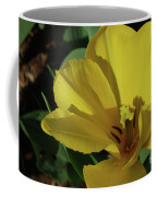 A Close Up Look At A Yellow Flowering Tulip Blossom Coffee Mug