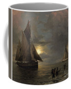 A Coastal Landscape With Sailing Ships By Moonlight Coffee Mug