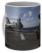 A Crew Chief Watches A Ch-46e Sea Coffee Mug