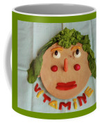 A Cutting-board With Pieces Of Colorful Vegetables  On A Blue  Tablecloth Coffee Mug