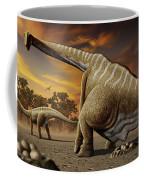 A Female Apatosaurus Laying Her Eggs Coffee Mug