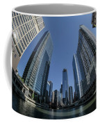 A Fisheye View Of The Chicago Skyline As You Appraoch Wolf Point Coffee Mug