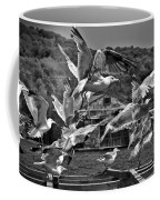 A Flock Of Seagulls Flying High To Summer Sky Coffee Mug