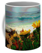 A Flowery View Of The Surf Watercolor Coffee Mug