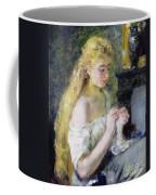 A Girl Crocheting Coffee Mug by Pierre Auguste Renoir