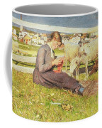 A Girl Knitting Coffee Mug by Giovanni Segantini