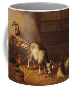 A Goat And Two Sheep In A Stable Coffee Mug