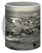 A Good Day Fishing On Monterey Bay In Black And White Coffee Mug