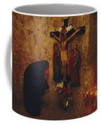 A Greek Pilgrim Prays In The Grotto Coffee Mug by Annie Griffiths