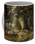 A Herd Of Stag And A Fawn In A Woodland Landscape Coffee Mug
