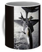 A Kc-135 Stratotanker Refuels A F-22 Coffee Mug by Stocktrek Images