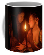 A Lady Admiring An Earring By Candlelight Coffee Mug by Godfried Schalcken