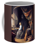 A Lady Playing The Clavichord Coffee Mug