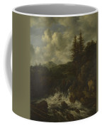 A Landscape With A Waterfall And A Castle On A Hill Coffee Mug