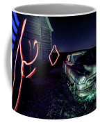 A Light Painted Scene Of A Rusty Caddy By A Barn And Cornfield Coffee Mug