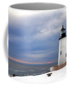 A Lonely Seagull Was Flying Over The Pemaquid Point Lighthouse Coffee Mug