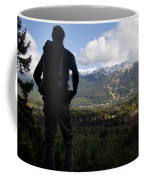 A Man Admires The View Over The Valley Coffee Mug