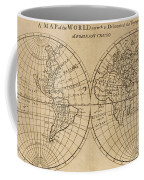 A Map Of The World With The Voyage Of Robinson Crusoe Coffee Mug