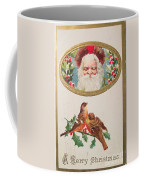 A Merry Christmas From Santa Claus Vintage Greeting Card With Robins Coffee Mug