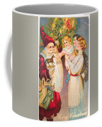 A Merry Christmas Vintage Card Santa And A Family Coffee Mug